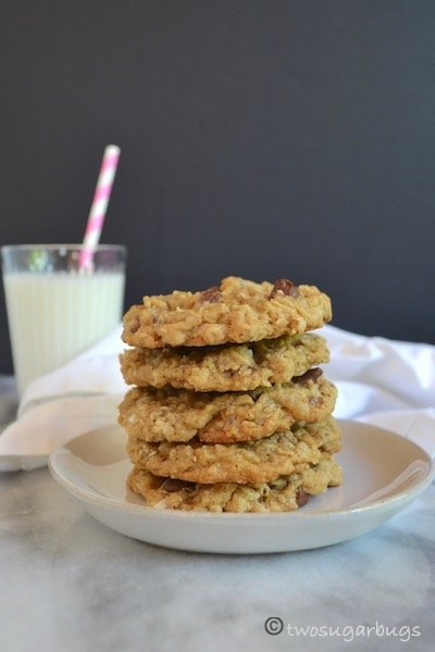 cookies on a plate with a glass of milk