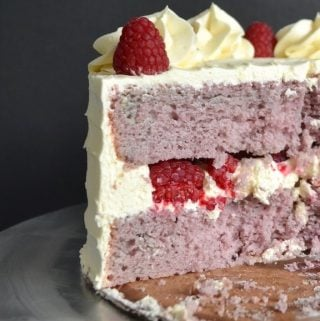 Inside view of a slice of raspberry cake