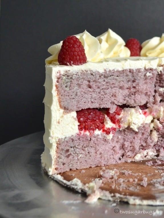 slice shot of homemade raspberry cake