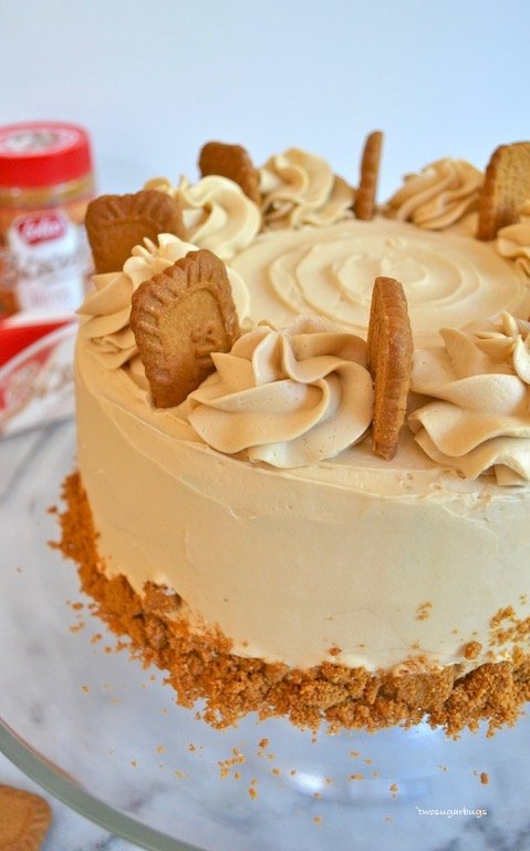 Cookie Butter Cake on glass cake stand