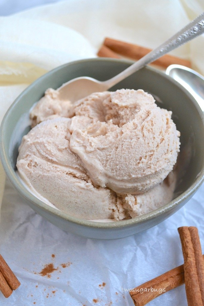 Creamy and luscious homemade cinnamon ice cream. Perfect for all your holiday pies, but amazing all on it's own too! #twosugarbugs #homemadeicecream #cinnamonicecream