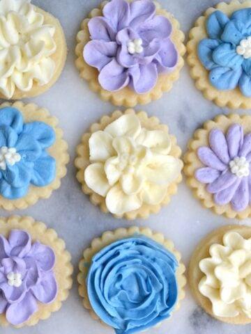 White, purple and blue buttercream flower sugar cookies