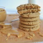 A chewy, thick, peanut buttery pb cookie with a little twist on the classic. Made with all butter and some ground oats, they have a phenomenal chew factor and are sure to please all peanut butter lovers!