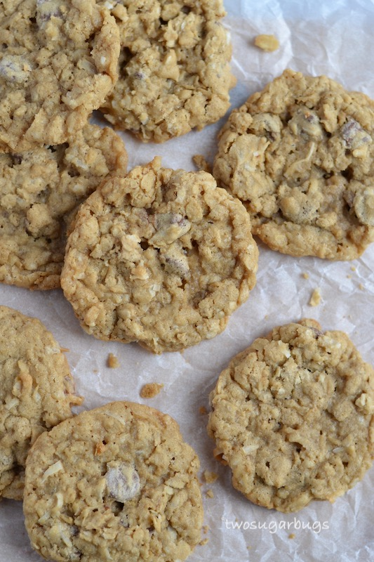 oatmeal, coconut chocolate chip cookies on parchment paper