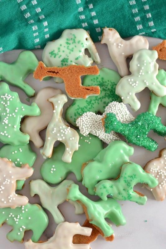 glazed and sprinkled homemade animal crackers