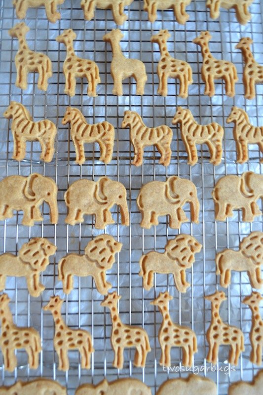 animal graham crackers cooling on a wire rack