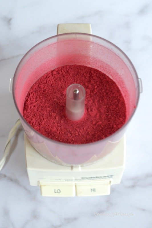 freeze dried raspberries in a food processor
