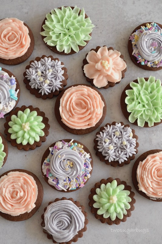 chocolate sugar cookies decorated with pastel buttercream