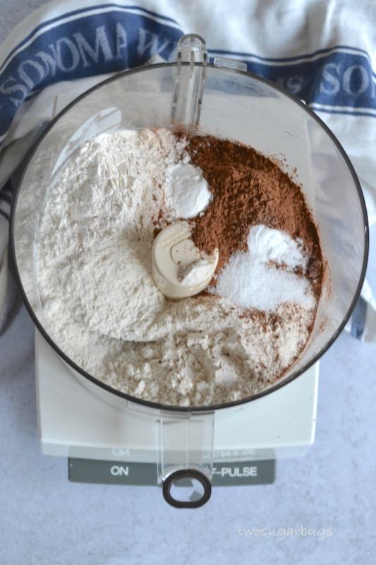 Dry ingredients in food processor bowl