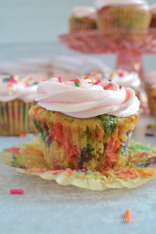 Inside view of funfetti cupcake