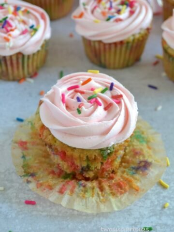 Cupcake with liner peeled back