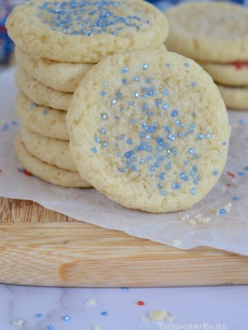 Stack of easy and fast soft drop sugar cookies