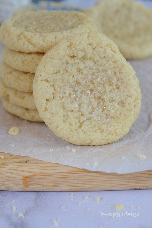 A stack of easy and fast soft drop sugar cookies