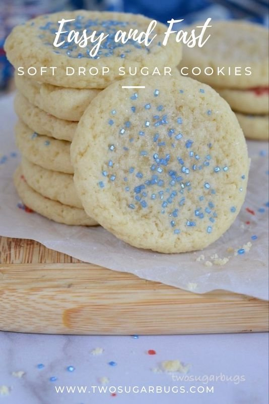 Pinterest graphic for fast and easy soft drop sugar cookies