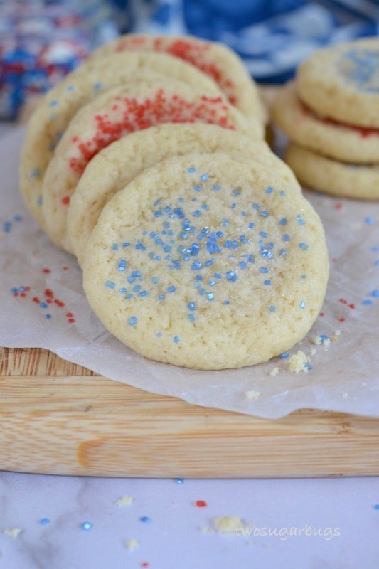 Red, white and blue easy and fast soft drop sugar cookies