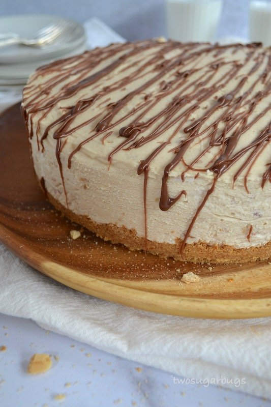 Peanut butter pie on a serving platter