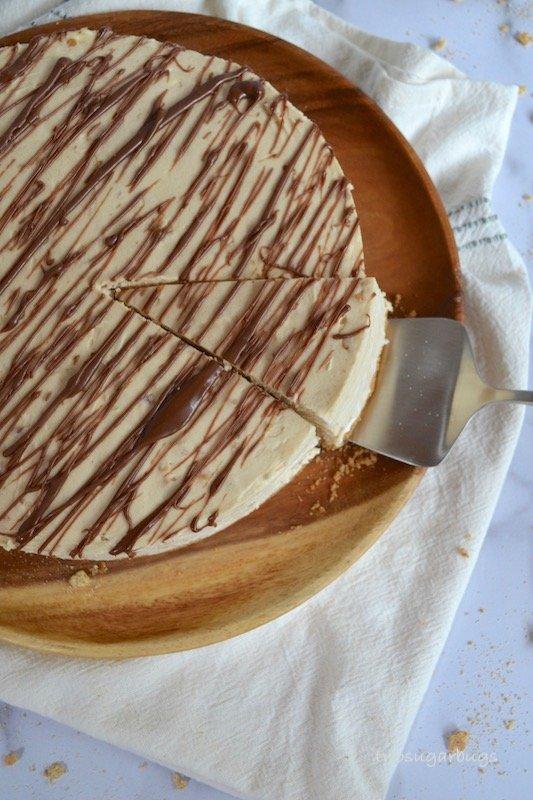 Peanut butter pie with a slice cut