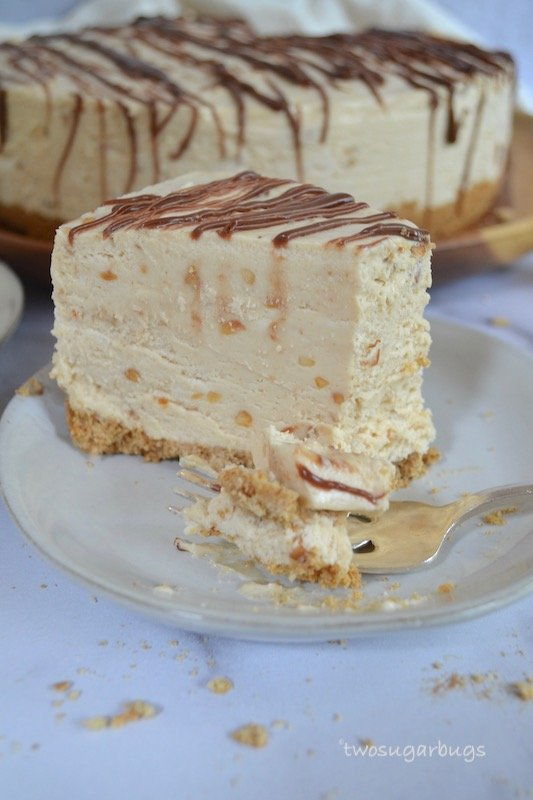 Slice of peanut butter pie on a plate with a bite missing