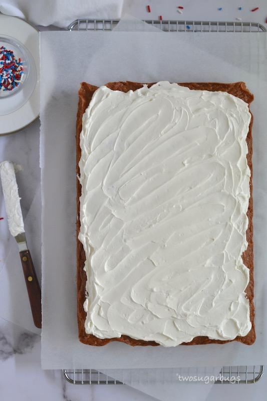Simple frosted pink velvet sheet cake