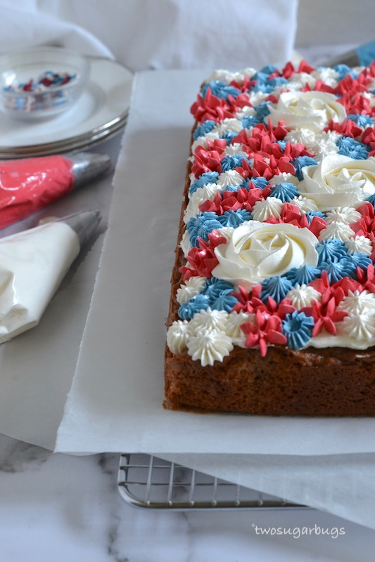 Decorated cake on parchment paper
