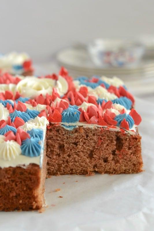 Cut section of pink velvet cake
