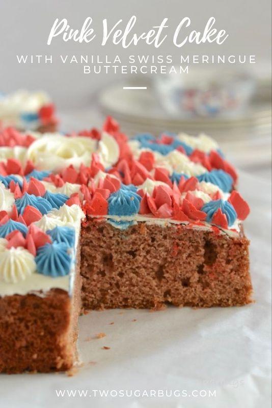 Pinterest graphic of pink velvet cake