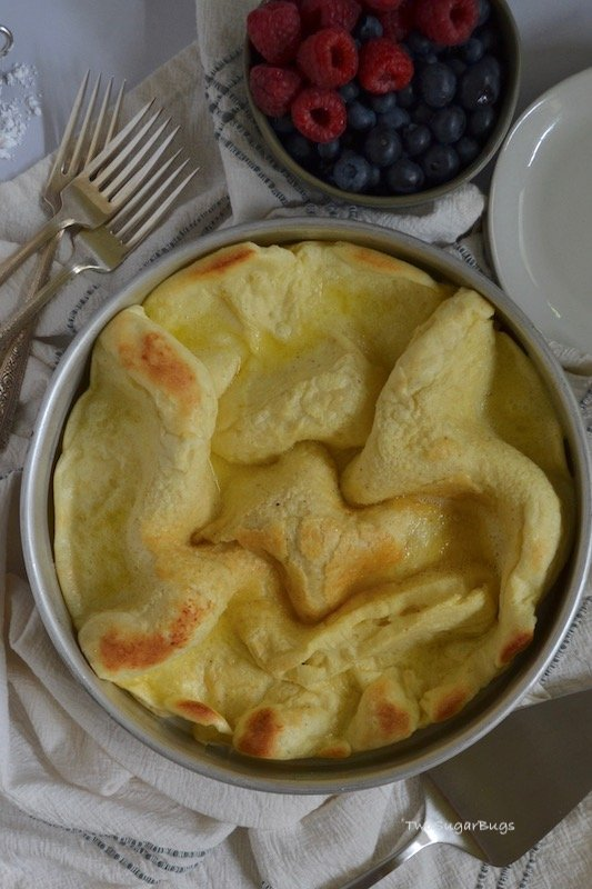Puffed Dutch Baby fresh from the oven