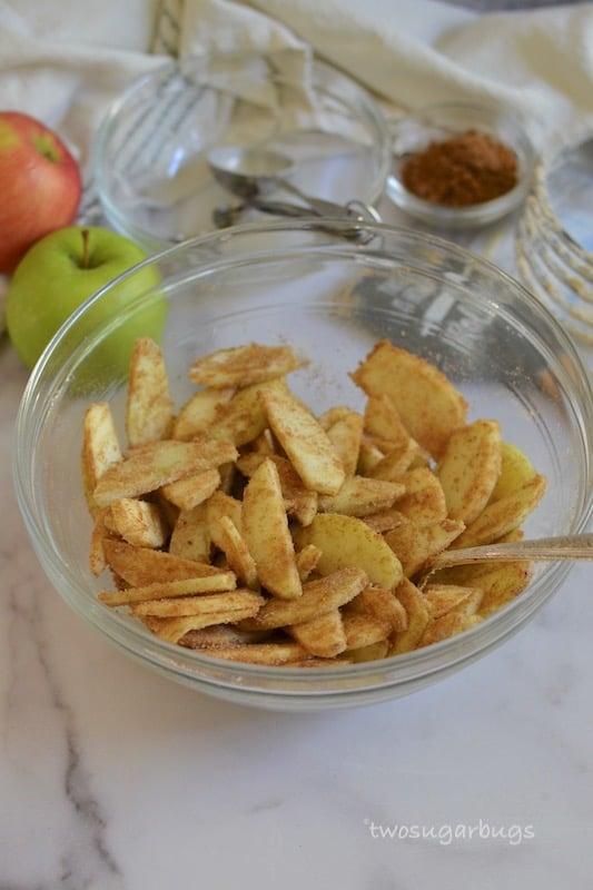 Bowl of cinnamon sugar covered sliced apples