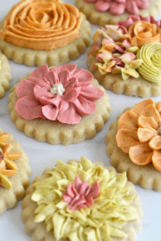 up close shot of decorated cinnamon sugar cookies