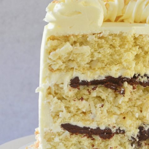 Inside slice of perfect coconut cake with dark chocolate ganache