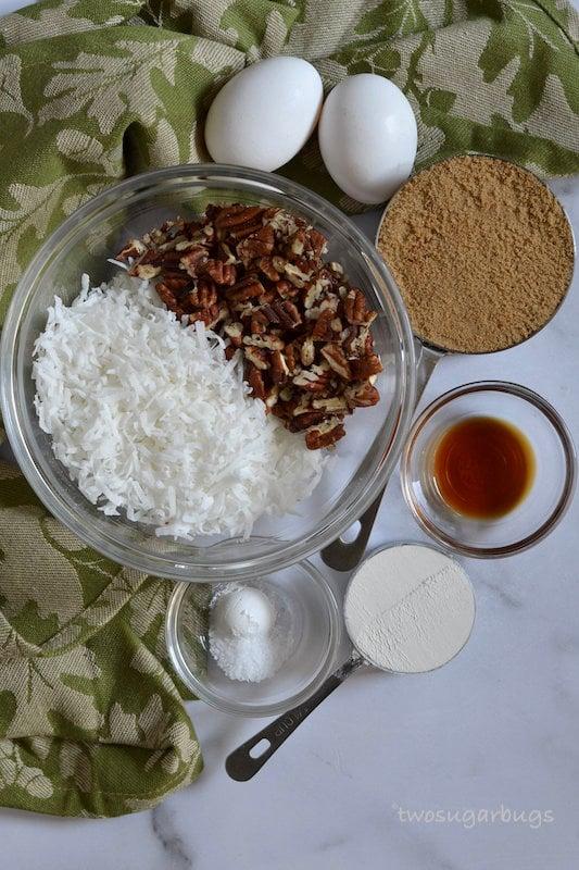 Ingredients for coconut pecan filling.
