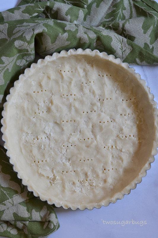 Unbaked shortbread tart.
