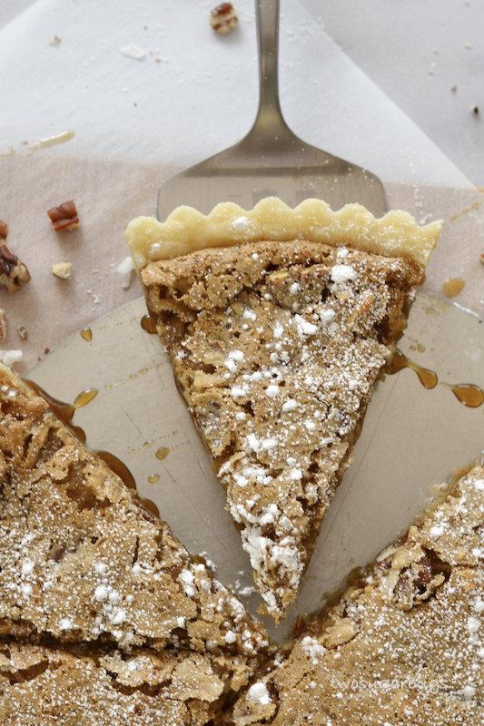Cut slice of tart.