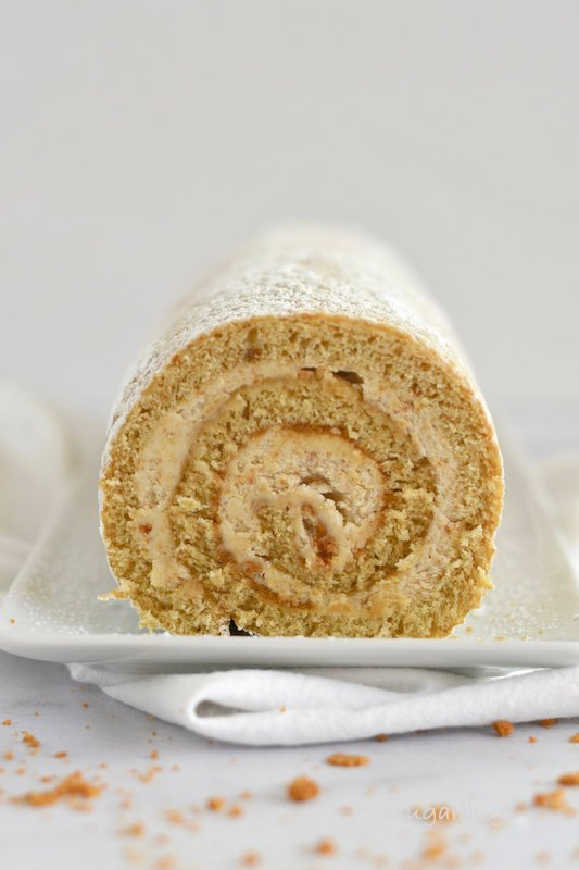 Face on shot of cookie butter Swiss roll