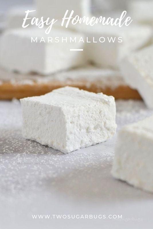 Pinterest graphic for easy homemade marshmallows.