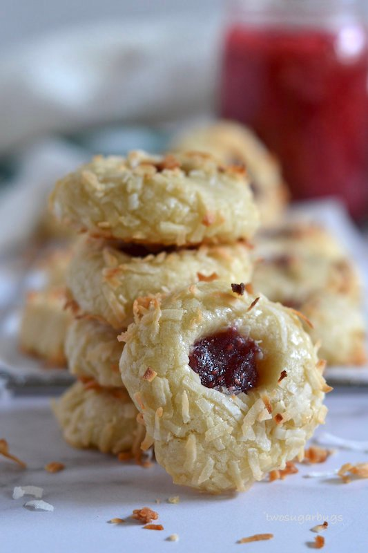 Stack of coconut jam thumbprints