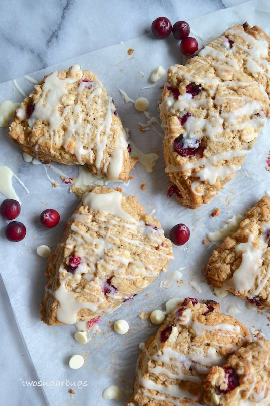 Baked scones on parchment paper