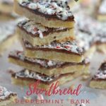 Pinterest graphic for shortbread peppermint bark