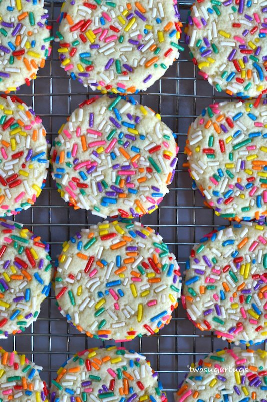 sprinkle cookies on a cooling rack
