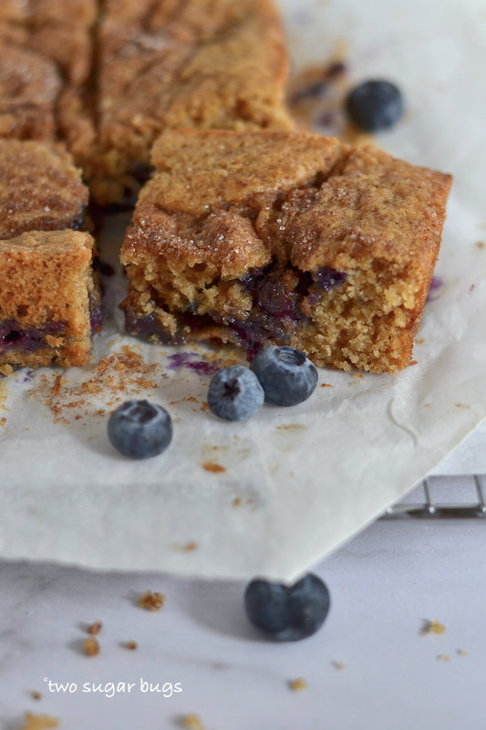 slice of coffee cake surrounded by blueberries