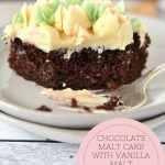 pinterest graphic for chocolate malt cake