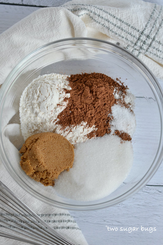 dry ingredients for chocolate malt cake