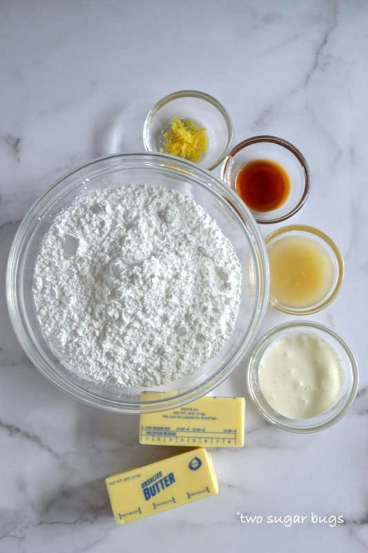 ingredients for lemon buttercream