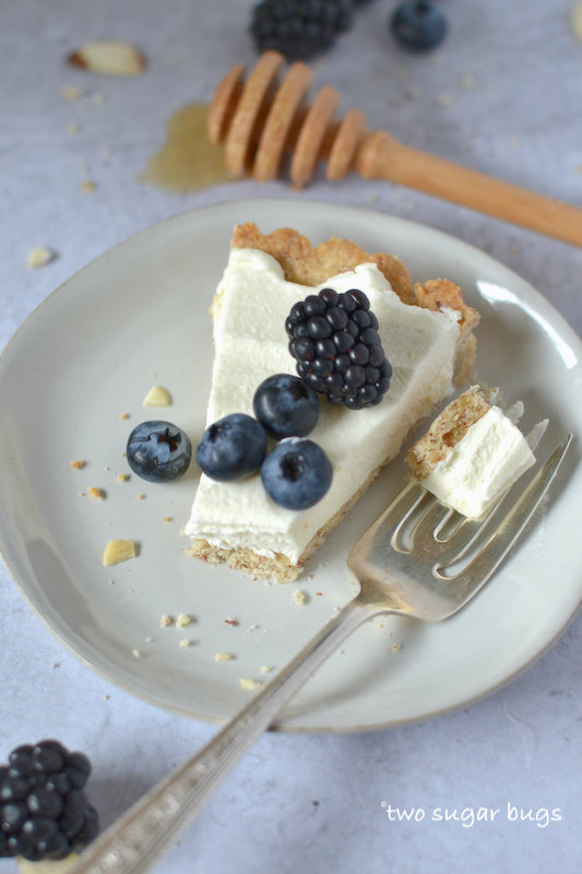 plate with a fork and a slice of tart