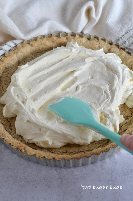 filling being spread into crust with a spatula