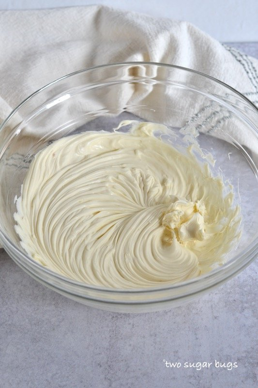 whipped mascarpone in a bowl before adding whipped cream