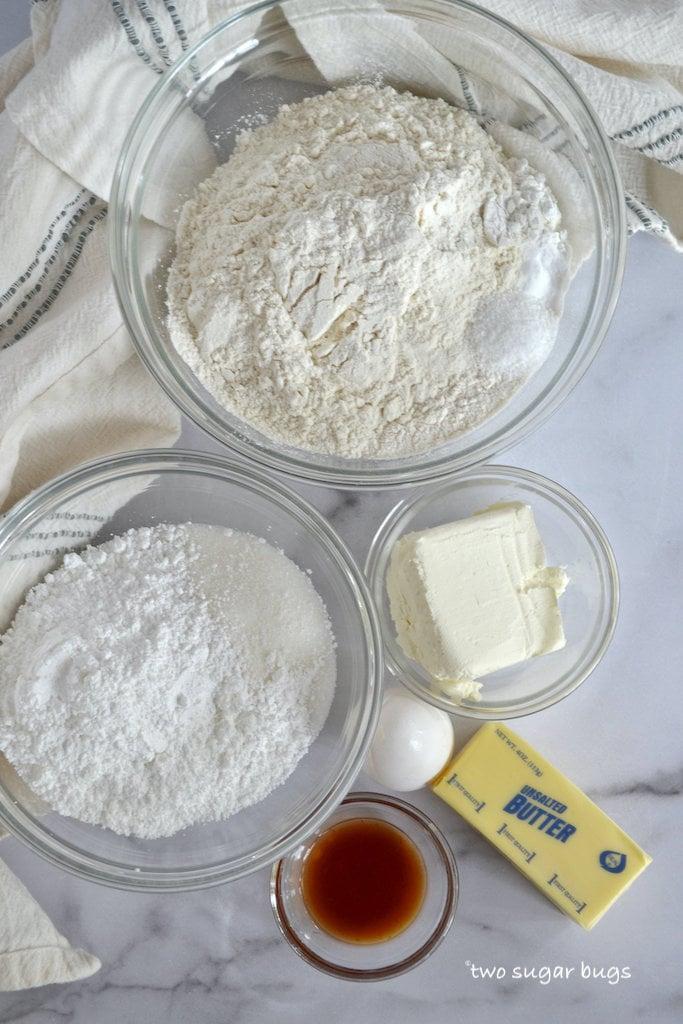 Ingredients for vanilla mint sugar cookie bars