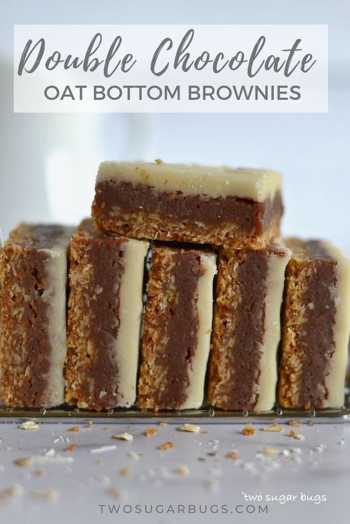 Double Chocolate Oat Bottom Brownies ~ A triple layered treat with an oatmeal base, a chocolate brownie middle and a soft, white chocolate topping.  This bar cookie recipe is easy to make and even easier to eat! ~ #brownies #easyrecipe #doublechocolatebrownies
