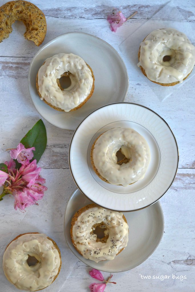 baked donuts on plates