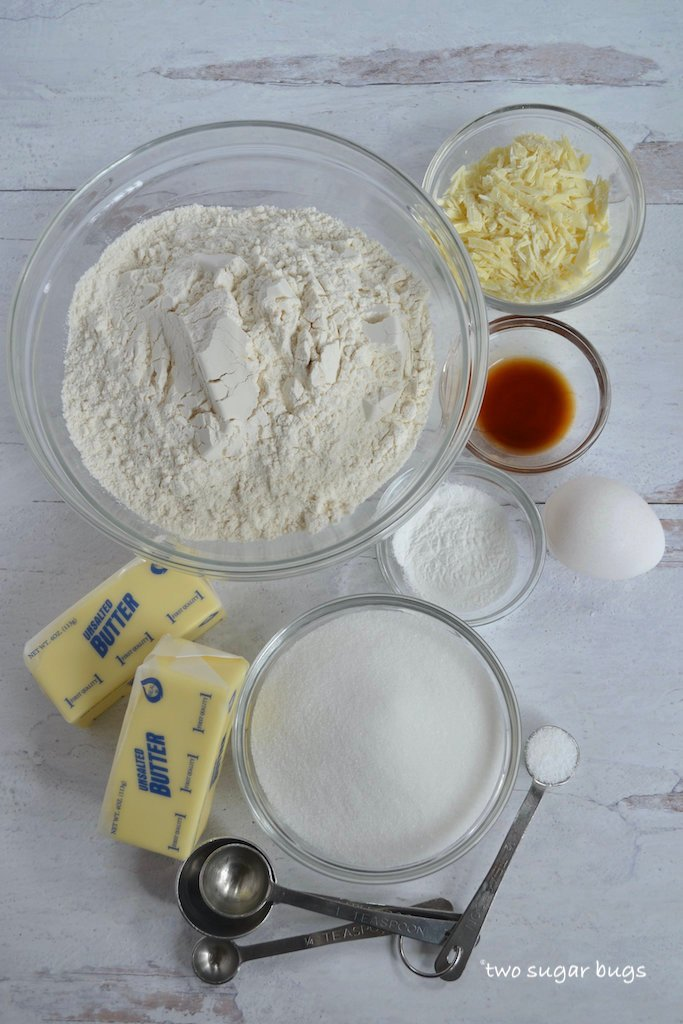 ingredients for white chocolate sugar cookies